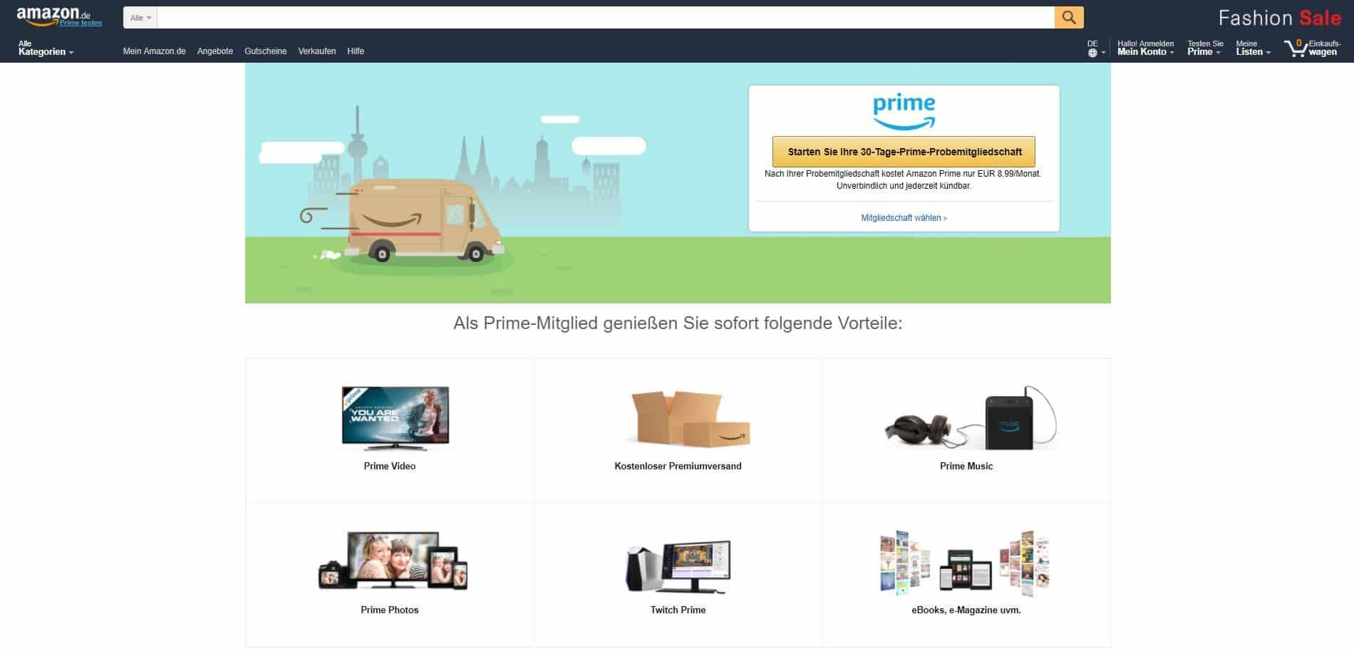 Prime-Vorteile (Grafik von amazon.de)